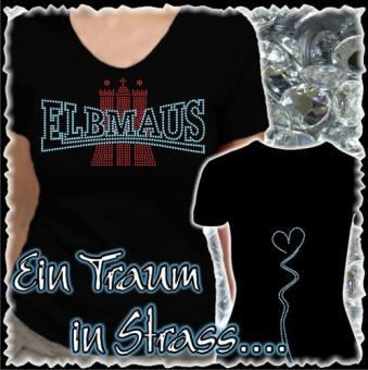 Girlie - Elbmaus * Ein Traum in Strass * crystalblau M | V - Ausschnitt | schwarz | Front und Rücken