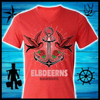 "Damenshirt - Elbdeerns - ""verankert"" Heather Red 